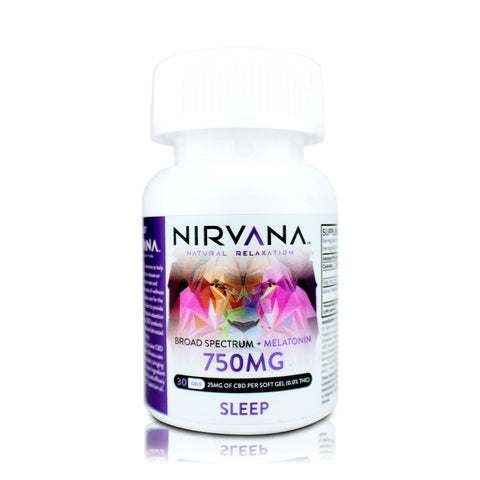 Nirvana CBD + Melatonin Gel Capsules - 750mg/30 gels - BODY100