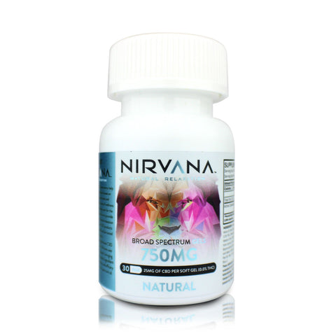 Nirvana CBD Gel Capsules - 750mg/30 gels - BODY100