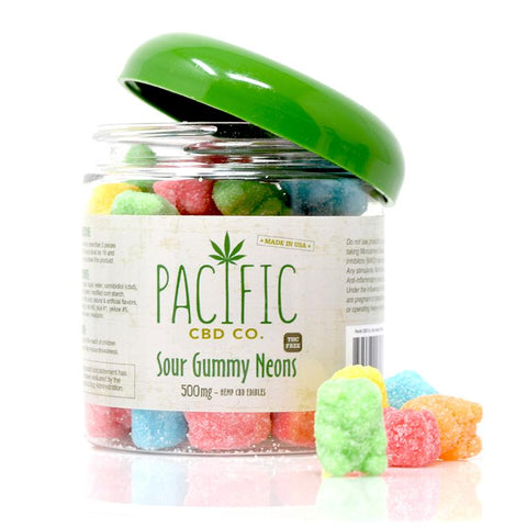 Pacific CBD Co - CBD Sour Gummy Neons 500mg CBD - Wholesale - BODY100