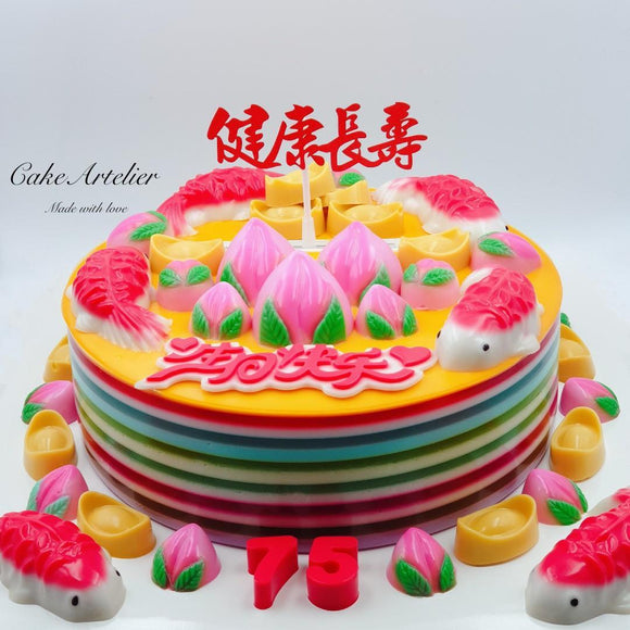 Longevity (Fishes, ingots & peaches) - CakeArtelier