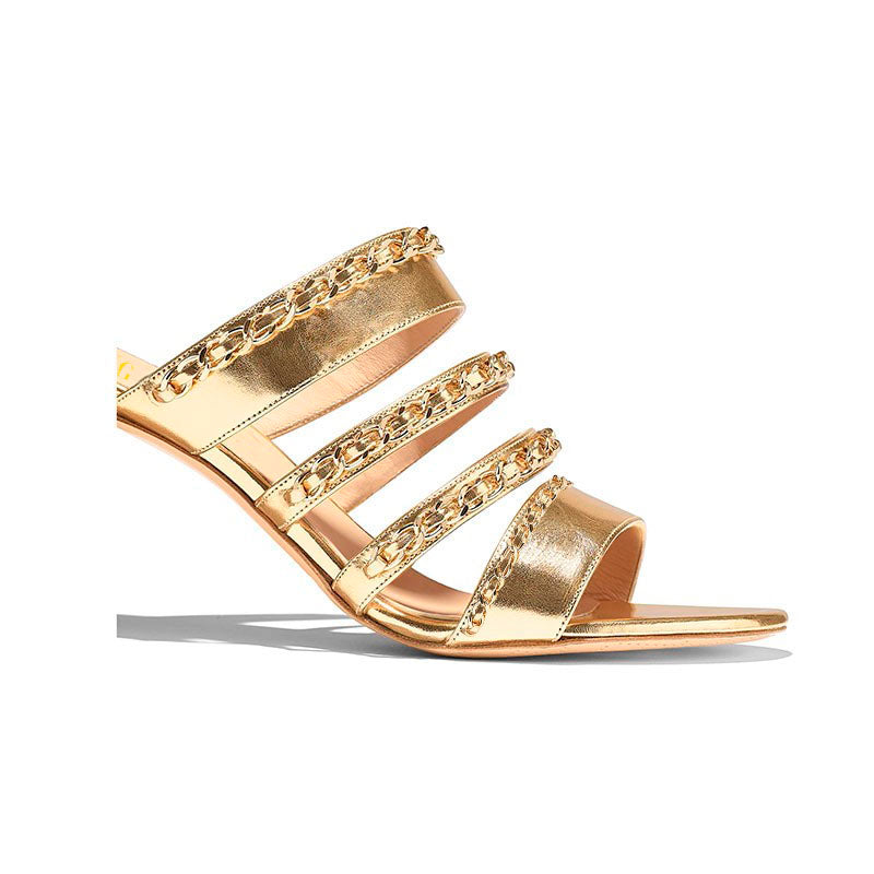 Golden Chains Mules Sandals