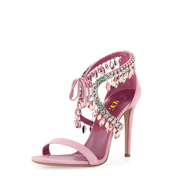 Rhinestones Lace Up Sandals