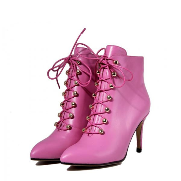 Pink Lace Up Stiletto Heel Boots