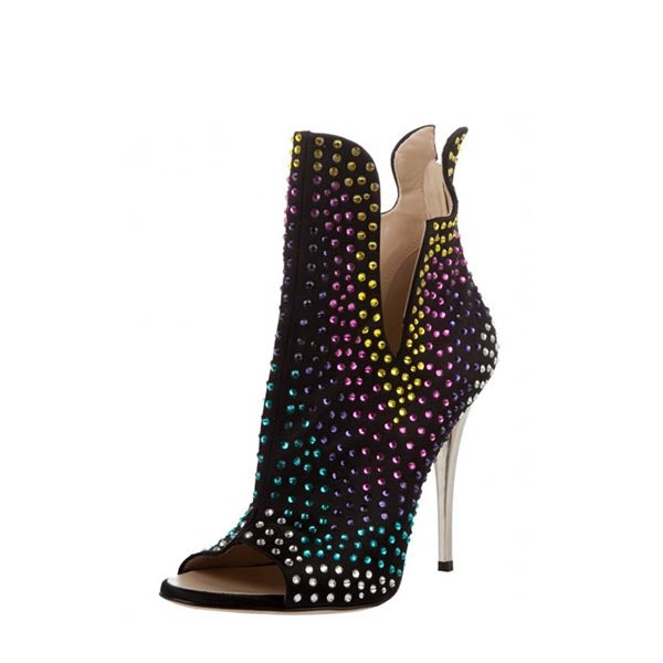 Colorful Rhinestone Cut Out Boots-1