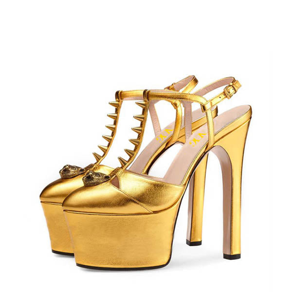 Gold High Heel Slingback Sandals