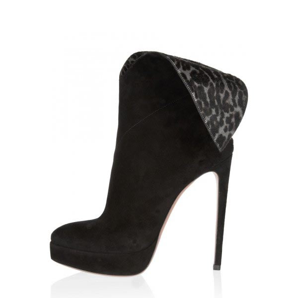 Suede Leopard Print Ankle boots
