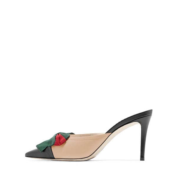 Stiletto Heel Mule Sandals With a Bow