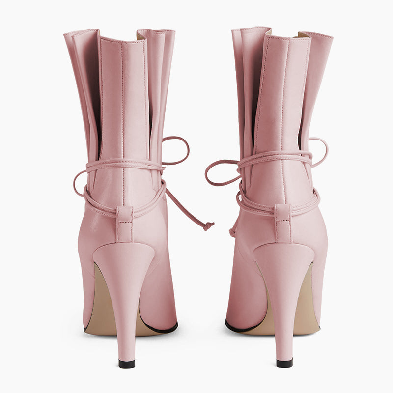 Lace Up Stiletto Heel Boots #2