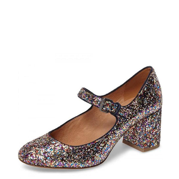 Colorful Glitter Block Heels Mary Jane