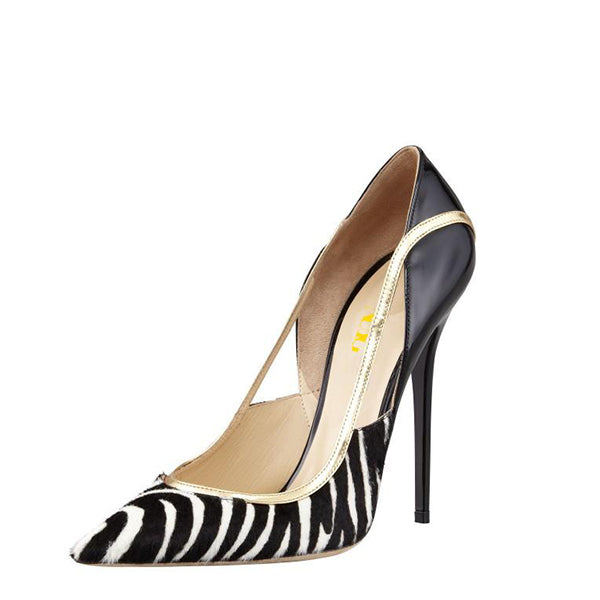 Zebra Print Stiletto Heel Pumps