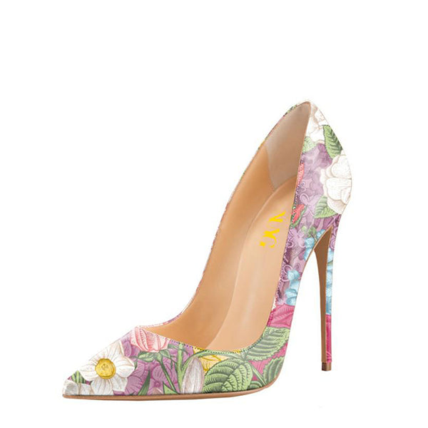Floral Print Stiletto Heel Pumps #4