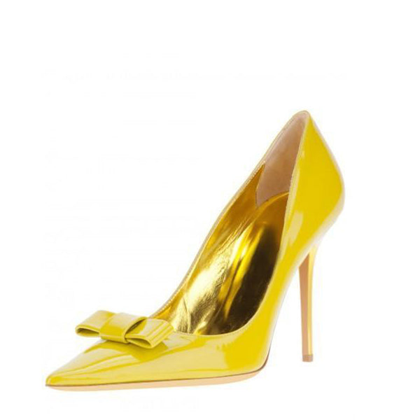Yellow Patent Leather Pumps With Bow