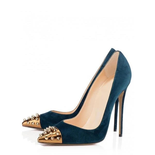 Rivets Stiletto Heel Pumps