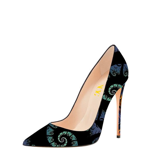 Black Halloween Floral Print Pumps