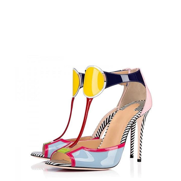 Patent Leather T Strap Sandals