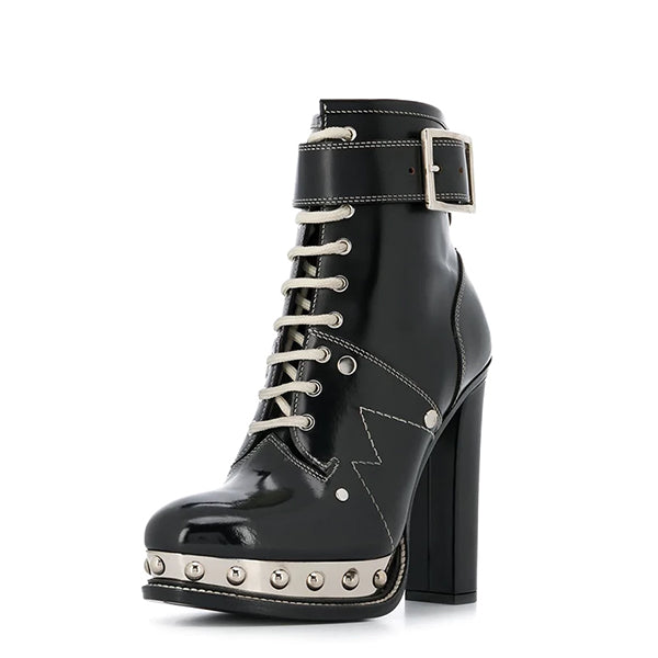 Black Lace Up Chunky Heel Combat Boots