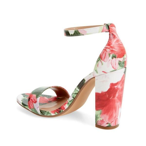 Floral Print Chunky Heel Sandals-2