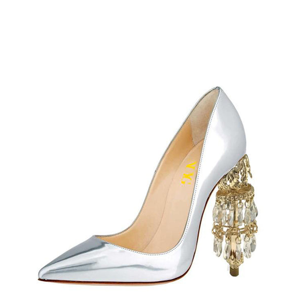 Metallic Heels Gold Rhinestones Pumps