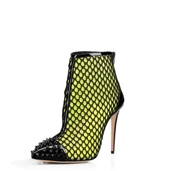 Mesh Stiletto Heel Ankle Boots