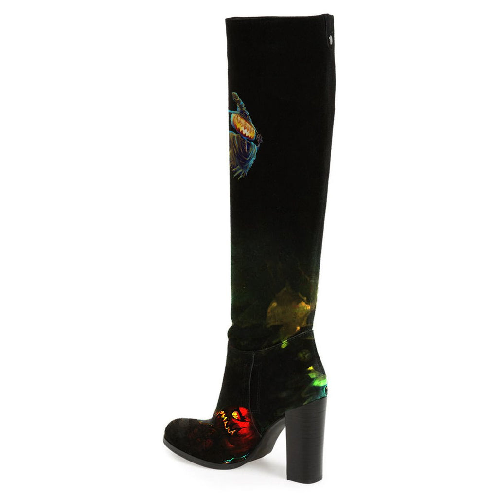 black-chunky-heel-boots-halloween-print-knee-high-boots