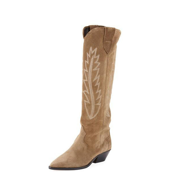 Suede Knee High Cowgirl Boots