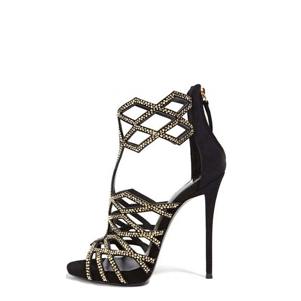 Gold Studs Cage Sandals