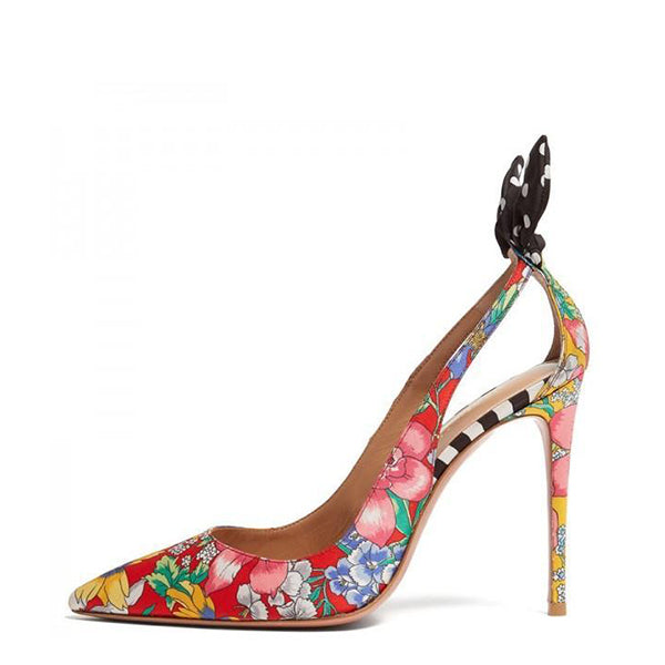 Satin Floral Print Heels Pumps