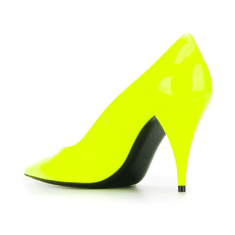 Matte Leather Cone Heel Pumps