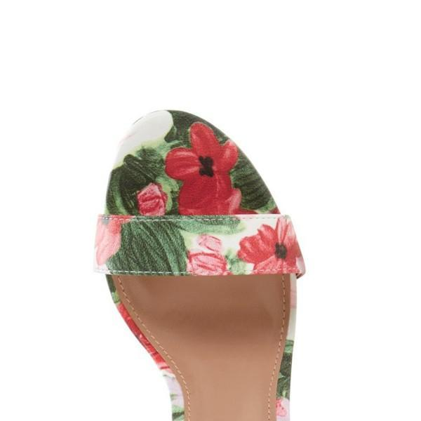 Floral Print Chunky Heel Sandals-3