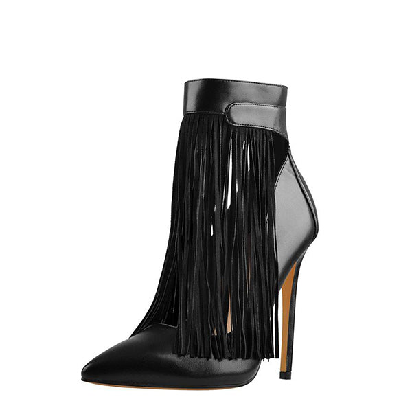 Matte Leather Fringed Boots
