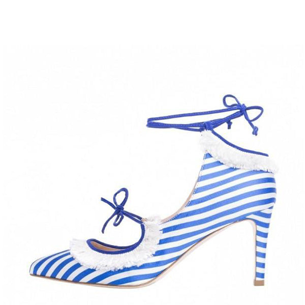 Stripes Strappy Fringe Pumps