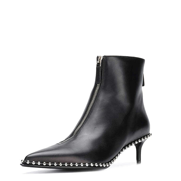 Zipper Kitten Heel Boots
