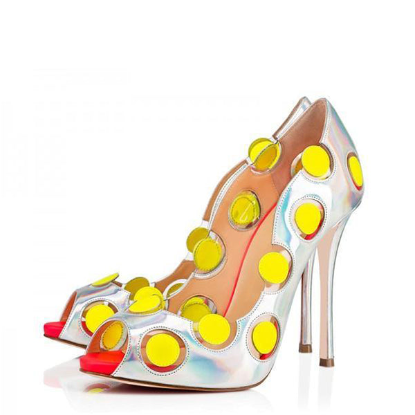 Yellow Dots Hologram Pumps