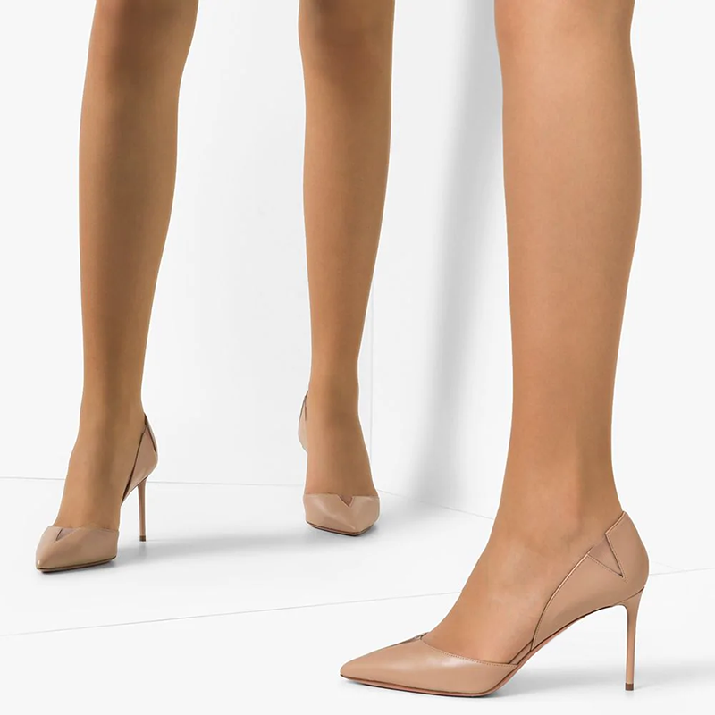 Nude Office Stiletto Heel Pumps
