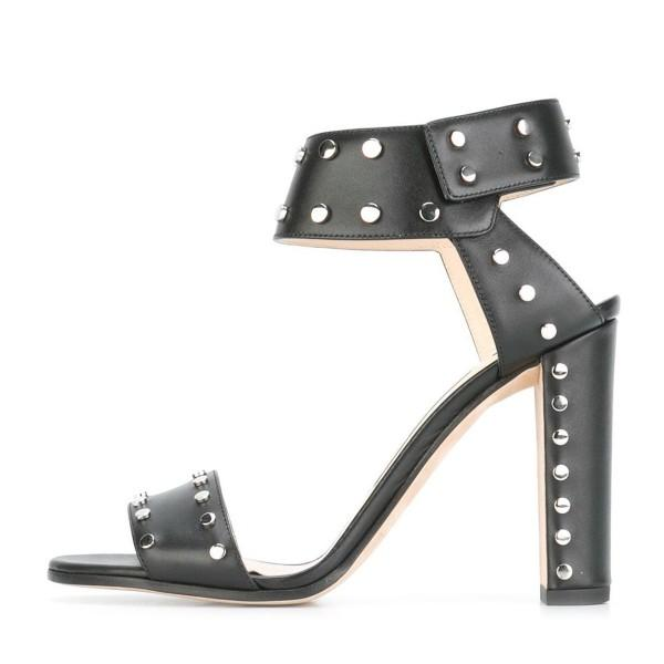 black-block-heel-sandals-ankle-strap-heels-with-silver-studs