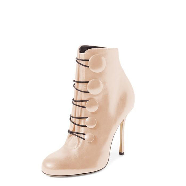 Stiletto Heel  Buttoned Ankle Boots