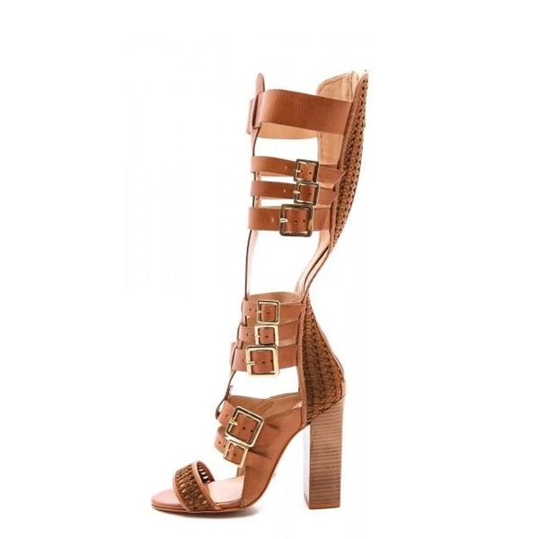 Tan Gladiator Knee-high Sandals