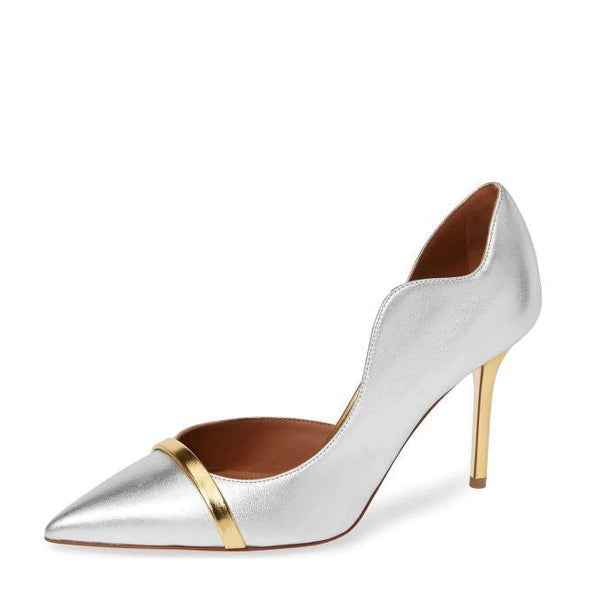 Metallic Curvy Dorsay Pumps