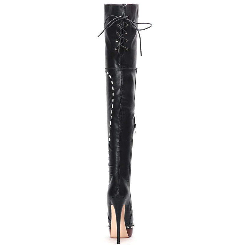 Lace Up Thigh High Boots #2