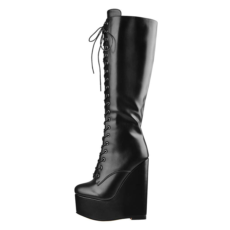 Lace Up Wedge Heel Boots
