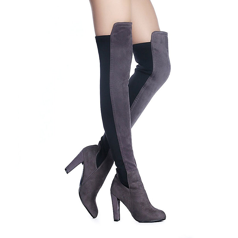 Suede Stretch Stiletto Heel Boots