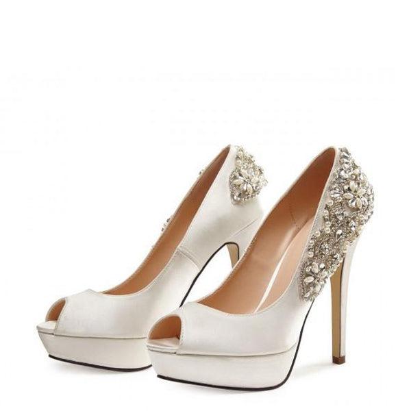 Satin Rhinestone Wedding Pumps