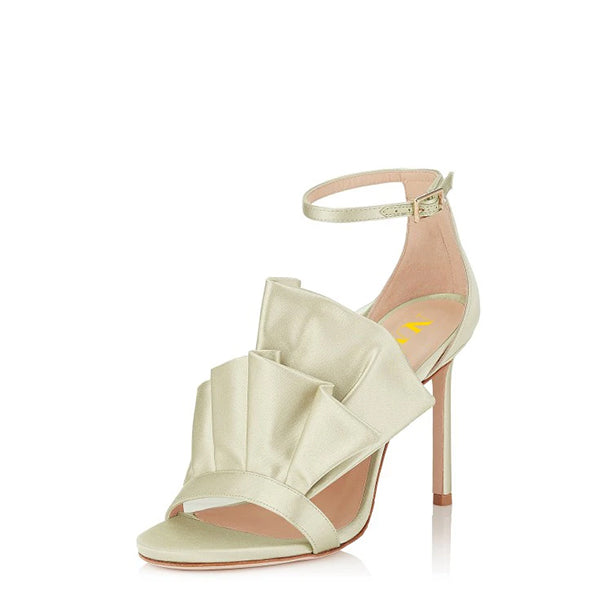 Ruffle Stiletto Heel Wedding Sandals