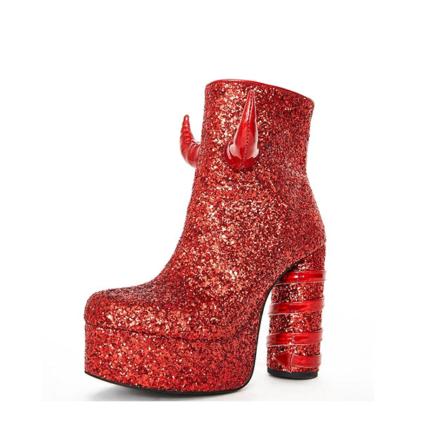 Sequins Chunky Heel Boots