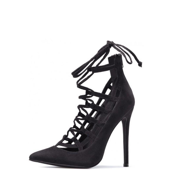 Suede Stiletto Heel Strappy Pumps