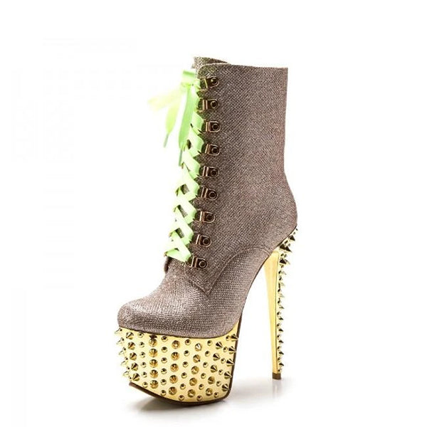 Rivets Lace Up Ankle Boots