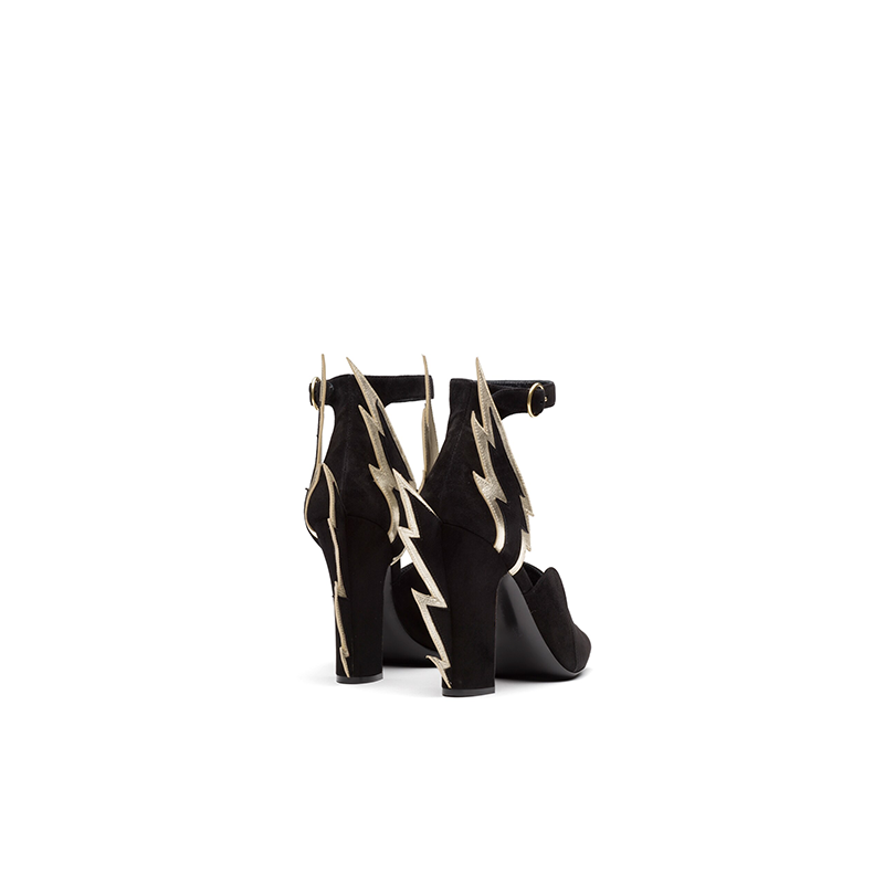 Sculptural Heel Black Sandals