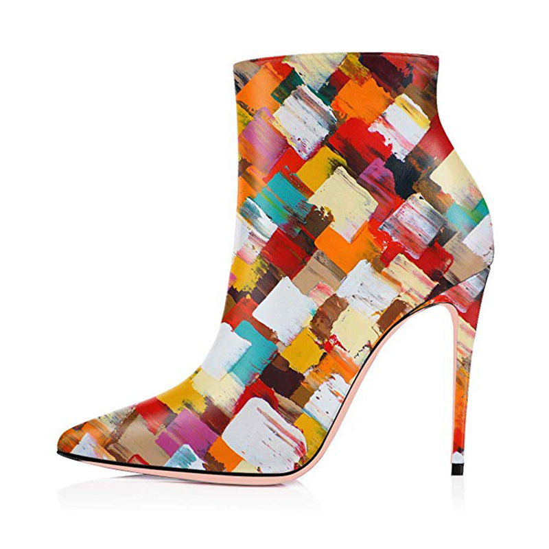 Multi-color Stiletto Heel Boots