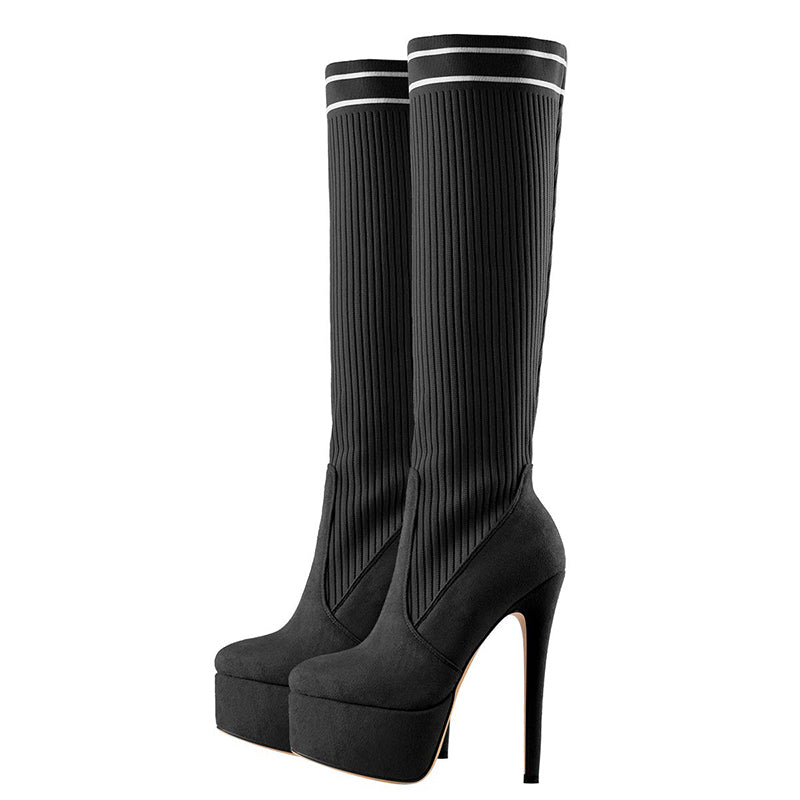 Stretch Knit Stiletto Heel Boots