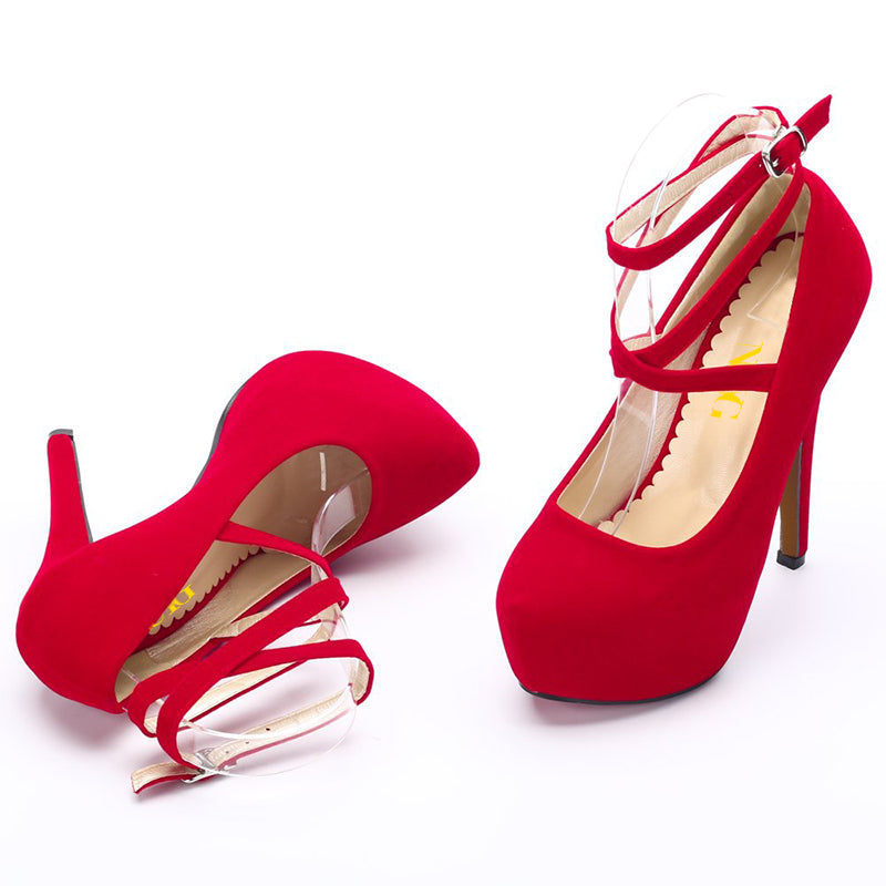 Red Ankle Strap Platform Pumps